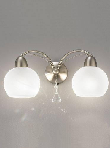 Franklite FL2277/2 Satin Nickel Wall Light (Class 2 Double Insulated)